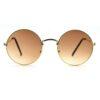 Golden brown round metal sunglass 001