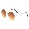 Golden brown round metal sunglass 2