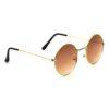 Golden brown round metal sunglass 4