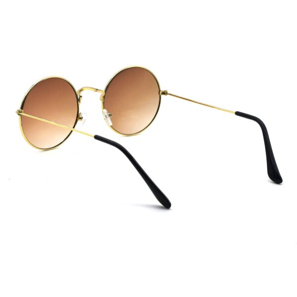 Golden brown round metal sunglass 5