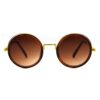 Ocnik Golden Brown Round Full Rim Uv Protection Metal Bridge Sheet Sunglass