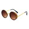 Ocnik Golden Brown Round Full Rim Uv Protection Metal Bridge Sheet Sunglass 2