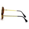 Ocnik Golden Brown Round Full Rim Uv Protection Metal Bridge Sheet Sunglass 3
