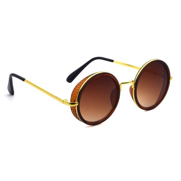 Ocnik Golden Brown Round Full Rim Uv Protection Metal Bridge Sheet Sunglass 4