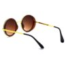 Ocnik Golden Brown Round Full Rim Uv Protection Metal Bridge Sheet Sunglass 5