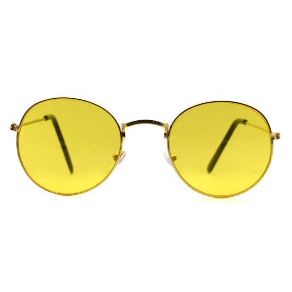 Ocnik Golden yellow round metal sunglass 001