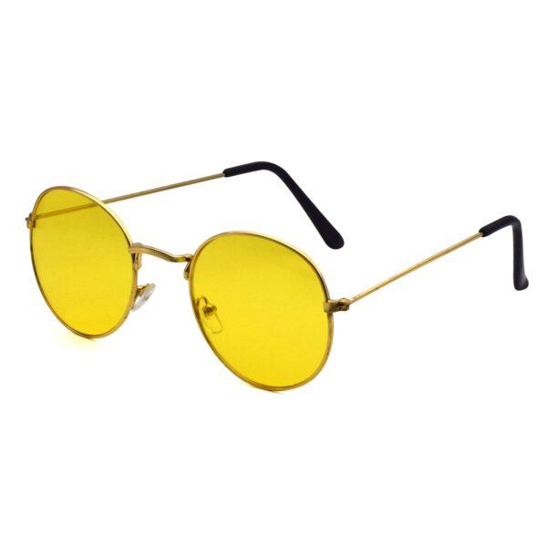 Ocnik Golden yellow round metal sunglass 2