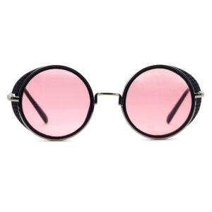 Ocnik Pink Black Round Full Rim Sunglass 001