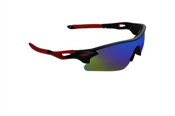 Ocnik Wrap Around red black mirrored cricket Sunglass for unisex 2