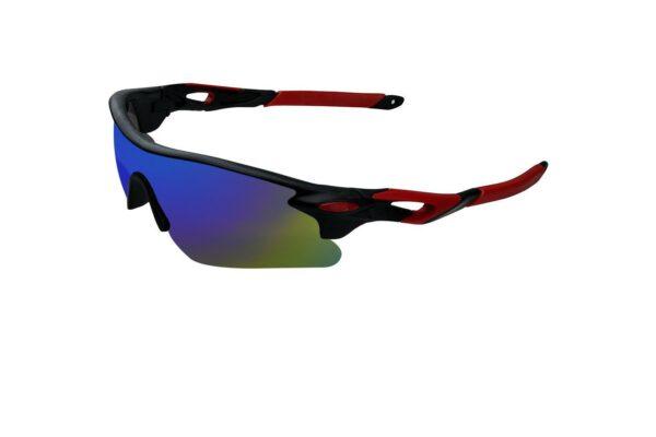 Ocnik Wrap Around red black mirrored cricket Sunglass for unisex 3