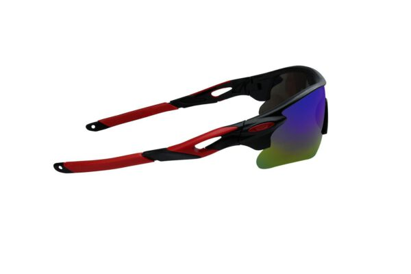 Ocnik Wrap Around red black mirrored cricket Sunglass for unisex 4