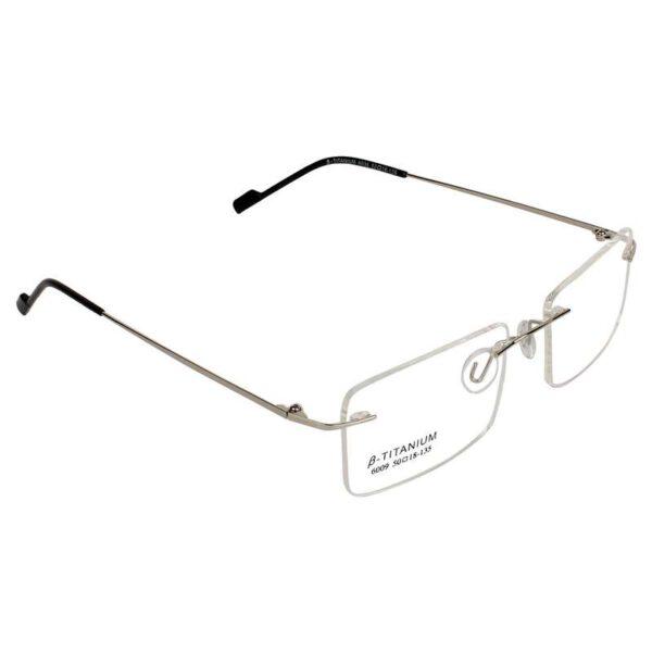 Rimless silver rectangle light weight 002