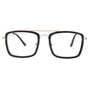 rectangle frame golden eyeglass 001