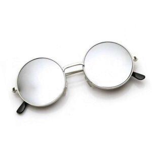 silver murcury light weight round metal sunglass 001
